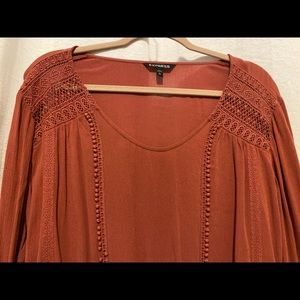 Peach bohemian top with lace detail